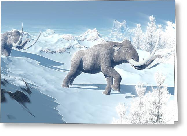 Snow-covered Landscape Digital Greeting Cards - Mammoths Walking Slowly On The Snowy Greeting Card by Elena Duvernay