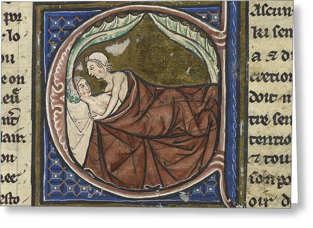 Written French Greeting Cards - Man And A Woman In Bed Greeting Card by British Library