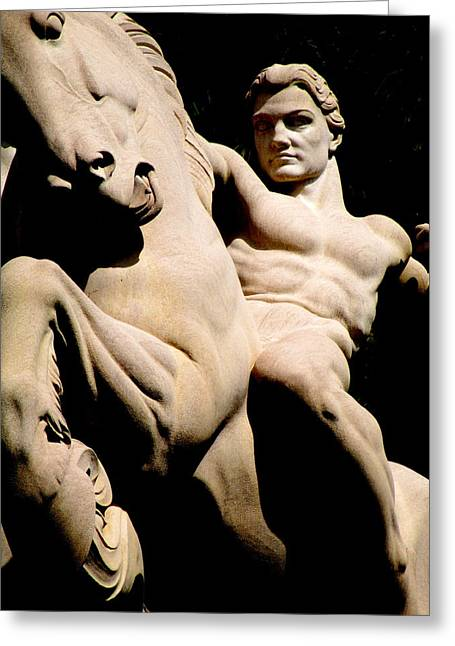 Garden Statuary Greeting Cards - Man And Beast Greeting Card by Randall Weidner