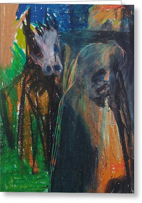Expressionist Pastels Greeting Cards - Man and Dog in the Garden Greeting Card by Anon Artist