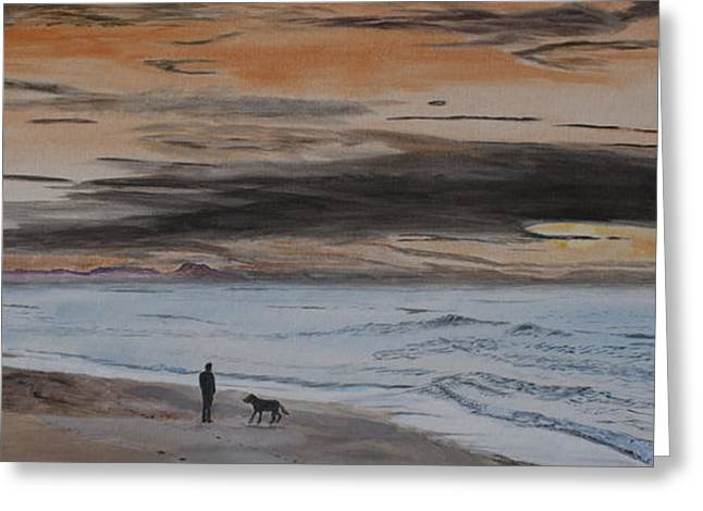 Puppies Paintings Greeting Cards - Man and Dog on the Beach Greeting Card by Ian Donley
