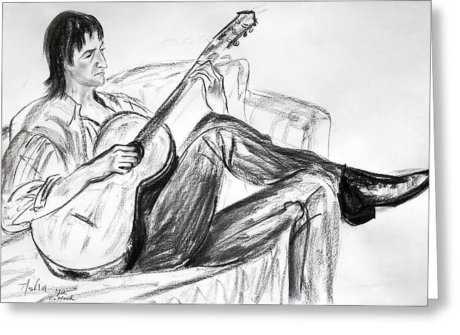 Black Boots Drawings Greeting Cards - Man and Guitar Greeting Card by Asha Carolyn Young