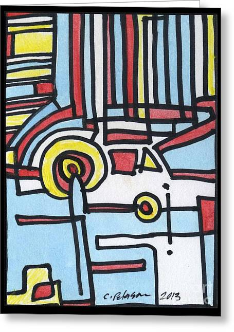 Aceo Original Drawings Greeting Cards - Man and His Car Greeting Card by Cathy Peterson