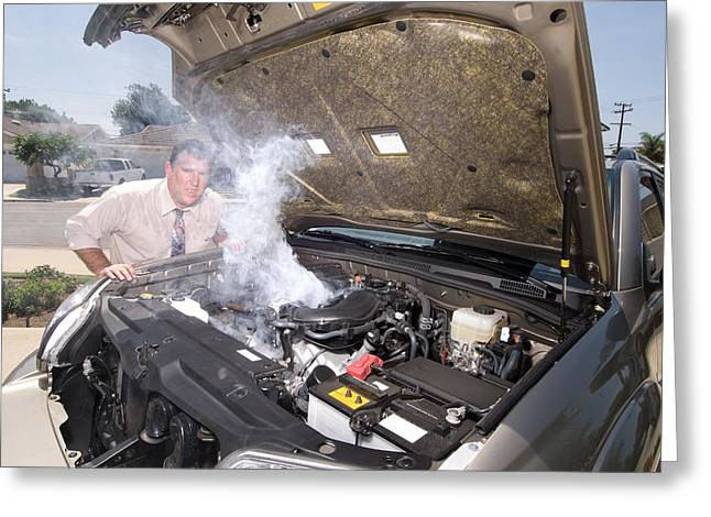 Overheating Greeting Cards - Man and his over heated car Greeting Card by Joe Belanger