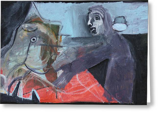 Expressionist Greeting Cards - Man and Horse Greeting Card by Anon Artist