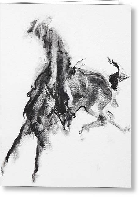 Cowboy Sketches Greeting Cards - Man and Horse Greeting Card by Janet Goddard