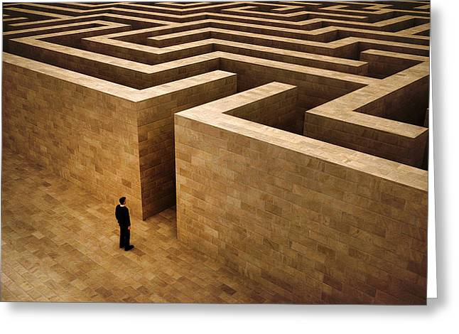 Problem Digital Art Greeting Cards - Man And Labyrinth Greeting Card by Bruno Haver