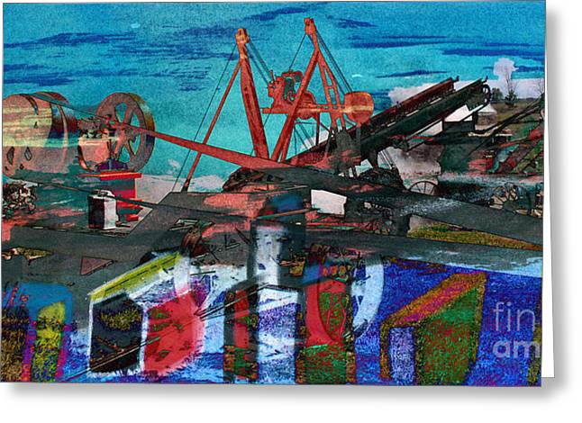 Technical Mixed Media Greeting Cards - Man and Machines Greeting Card by R Kyllo