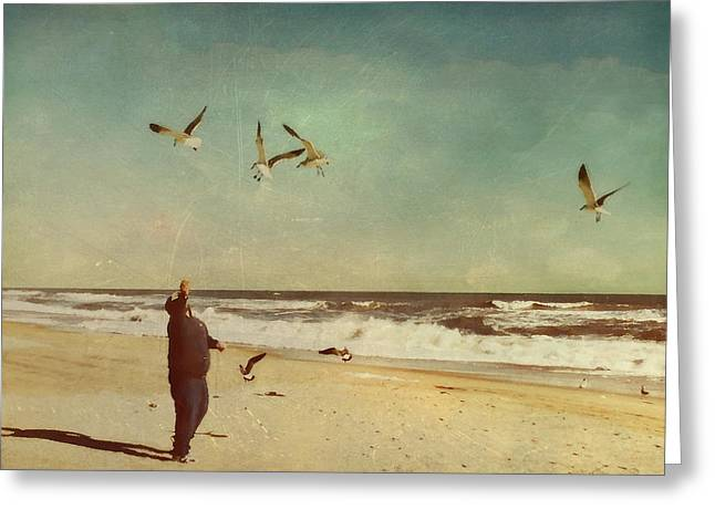 Ocean Front Landscape Greeting Cards - Man and Nature Greeting Card by Kathy Jennings
