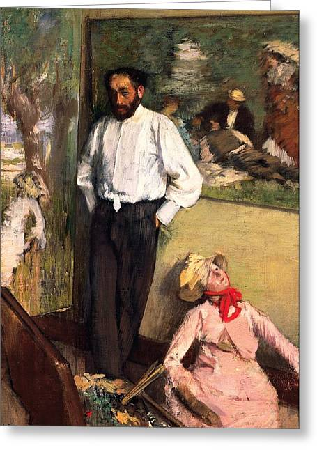 Atelier Greeting Cards - Man and puppet Greeting Card by Edgar Degas