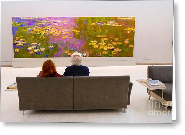 Looking Greeting Cards - Man and Woman and Monet Painting at Carnegie Museum in Pittsburgh Pennsylvania Greeting Card by Amy Cicconi