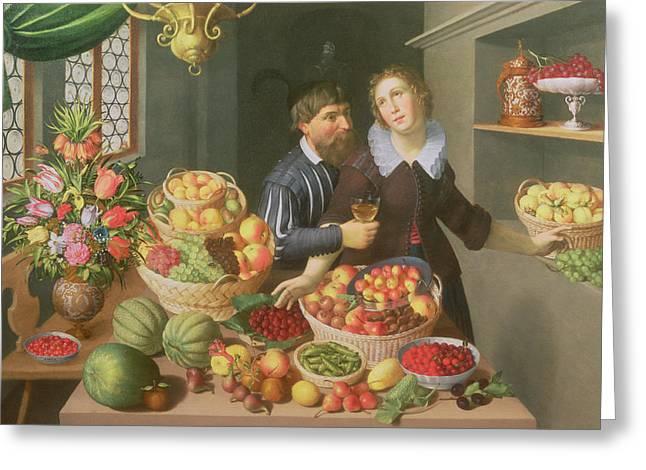 Raspberries Greeting Cards - Man And Woman Before A Table Laid With Fruits And Vegetables Greeting Card by Georg Flegel