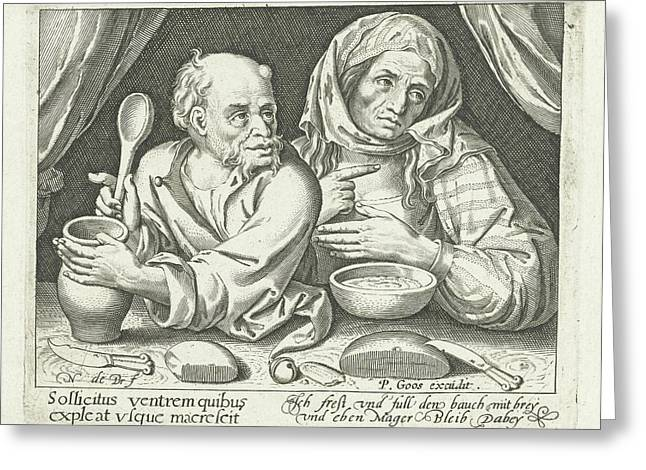 Man And Woman Eating Porridge, Nicolaes De Bruyn Greeting Card by Nicolaes De Bruyn And Pieter Goos