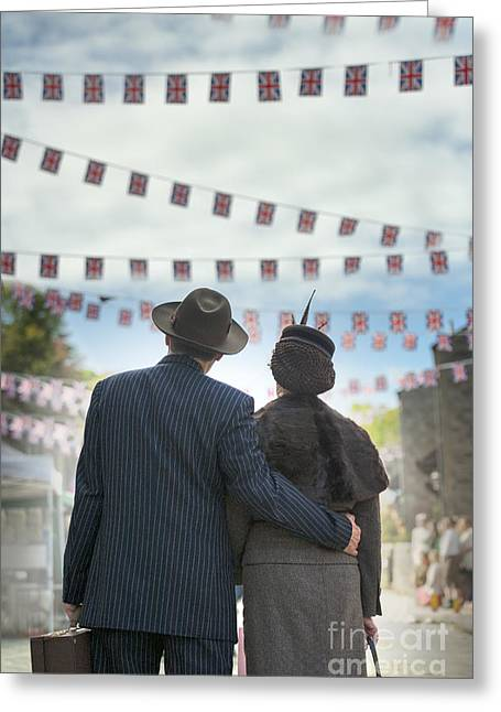 Tweed Suit Greeting Cards - man and woman embracing on VE Day at the end of world war two Greeting Card by Lee Avison