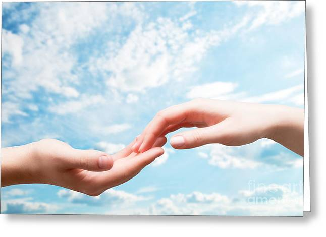 Communication Aids Greeting Cards - Man and woman hands touch in gentle soft way Greeting Card by Michal Bednarek