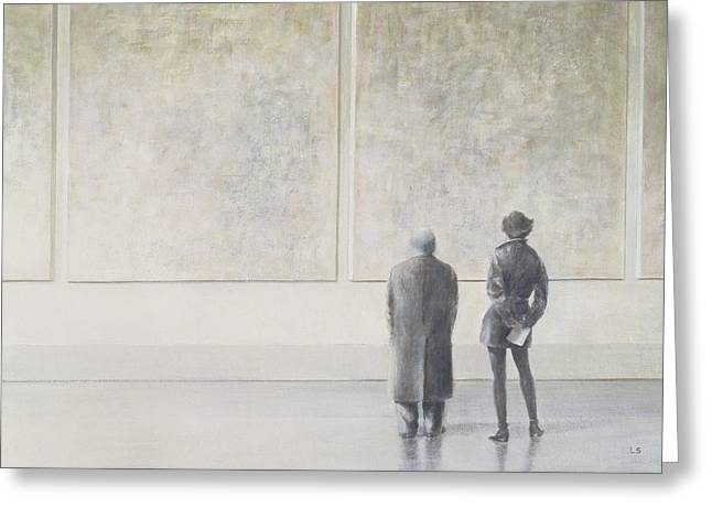 Appreciation Greeting Cards - Man And Woman In An Art Gallery Greeting Card by Lincoln Seligman