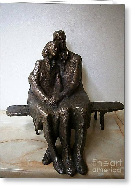Realism Sculptures Greeting Cards - Man and woman sitting on a bench Greeting Card by Nikola Litchkov