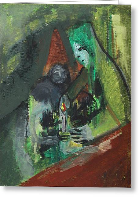 Expressionist Greeting Cards - Man and Woman with Candle Greeting Card by Anon Artist