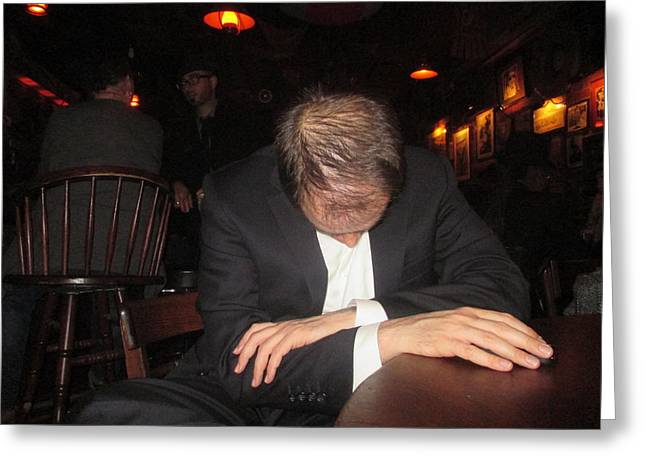 Sit-ins Greeting Cards - Man Asleep In The Bar Greeting Card by David Lovins