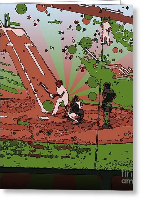 Baseball Bat Greeting Cards - Man at Bat Greeting Card by Terry Weaver