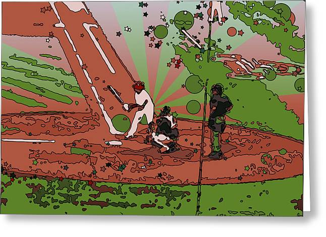 Man at Bat Greeting Card by Terry Weaver