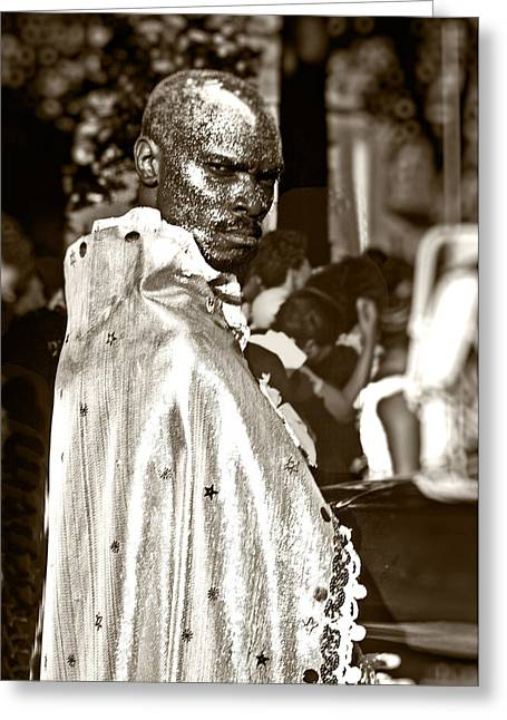White Photographs Greeting Cards - Man at Carnival # 1 Greeting Card by Stuart Brown