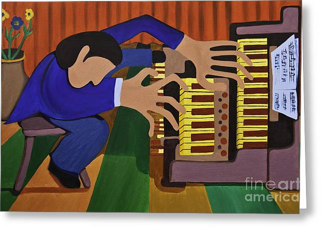 Bluecoat Paintings Greeting Cards - Man At His Organ Greeting Card by James Lavott