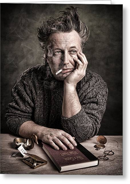 Smoker Greeting Cards - Man at the table - Lonely Hearts Club Greeting Card by Gary Heller
