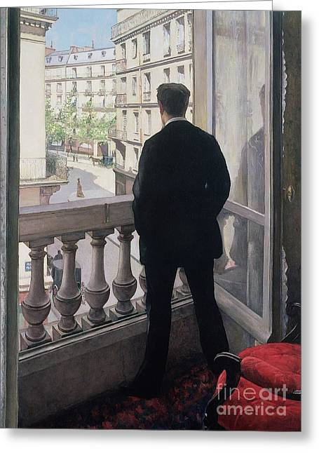 French Windows Greeting Cards - Man at the Window Greeting Card by Gustave Caillebotte