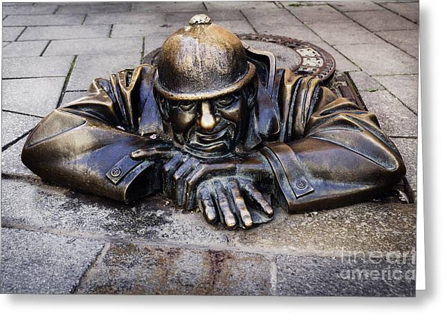 Sewer Greeting Cards - Man at work in Bratislava Greeting Card by Jelena Jovanovic