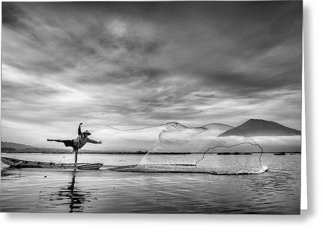 Man Behind The Nets Greeting Card by Arief Siswandhono