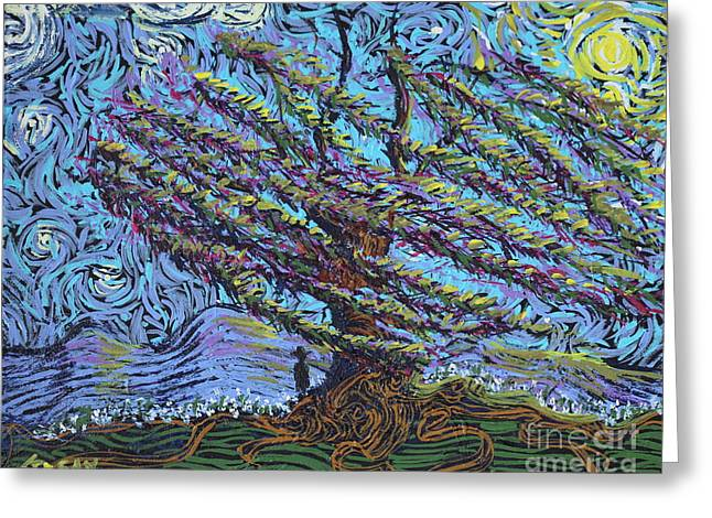 Squiggleism Greeting Cards - Man Beneath The Willow Greeting Card by Stefan Duncan