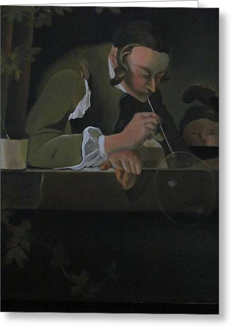Chardin Greeting Cards - Man Blowing Bubbles Greeting Card by Paola T Pileri Hernandez