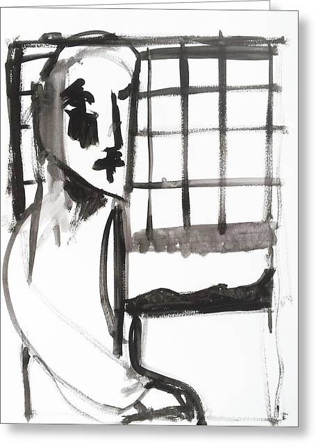Expressionist Greeting Cards - Man by a Window Greeting Card by Anon Artist