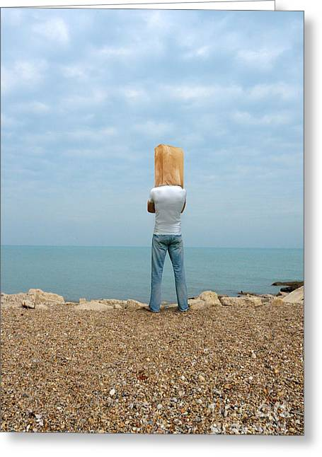 Brown Paper Bag Greeting Cards - Man by the Sea with Bag on His Head Greeting Card by Jill Battaglia