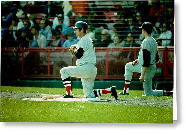 Carl Yastrzemski Greeting Cards - Man Called Yaz Greeting Card by Jerry Coli