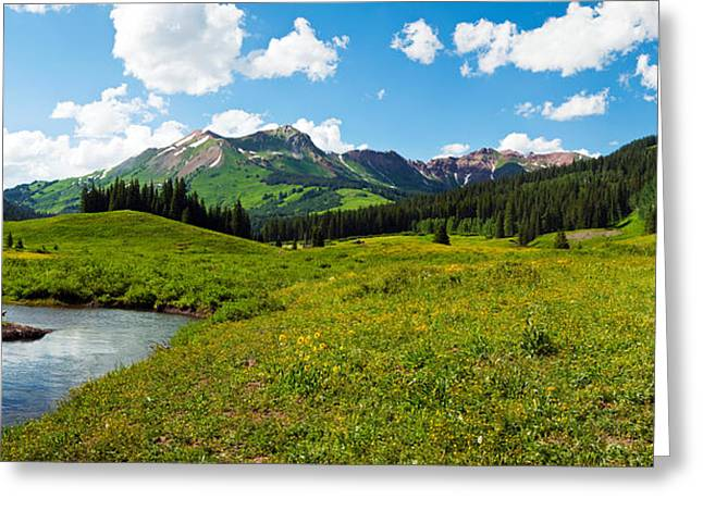Man Camping Along Slate River, Crested Greeting Card by Panoramic Images