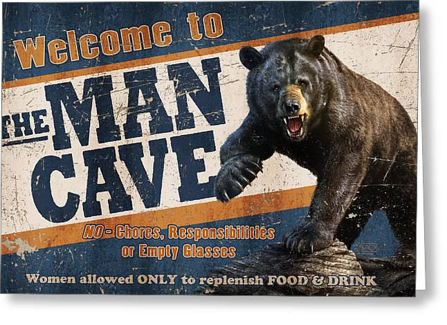 Hunting Cabin Greeting Cards - Man Cave Balck Bear Greeting Card by JQ Licensing