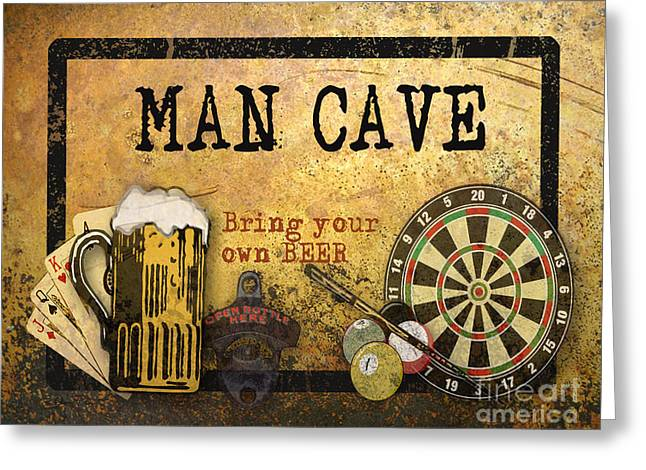 Board Game Greeting Cards - Man Cave-Bring your own Beer Greeting Card by Jean Plout