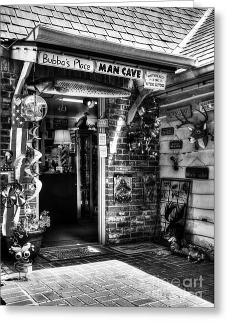 Near Nashville Greeting Cards - Man Cave BW Greeting Card by Mel Steinhauer