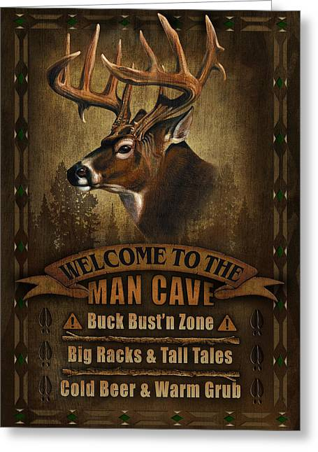 Turkey Greeting Cards - Man Cave Deer Greeting Card by JQ Licensing