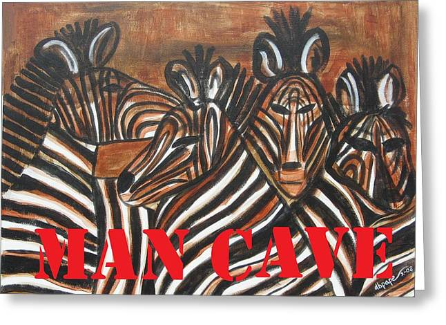 Zebra In Acrylic Greeting Cards - Man Cave Greeting Card by Diane Pape