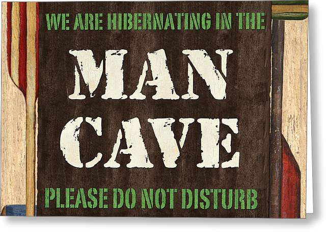 Man Greeting Cards - Man Cave Do Not Disturb Greeting Card by Debbie DeWitt