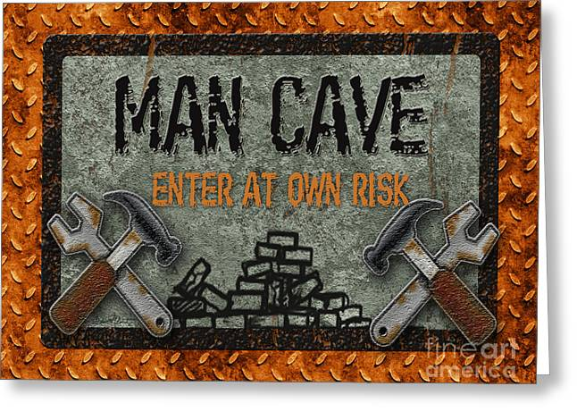 Yellow Hammer Greeting Cards - Man Cave-Enter at Own Risk Greeting Card by Jean Plout