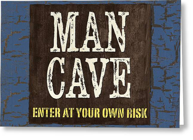 Man Cave Enter at your own Risk Greeting Card by Debbie DeWitt