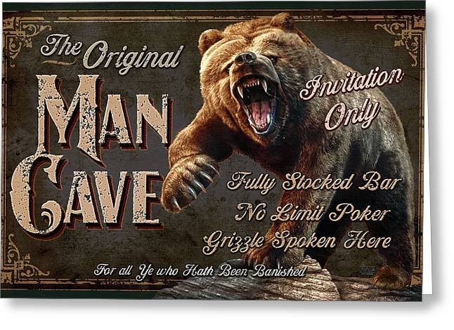 Black Man Paintings Greeting Cards - Man Cave Grizzly Greeting Card by JQ Licensing
