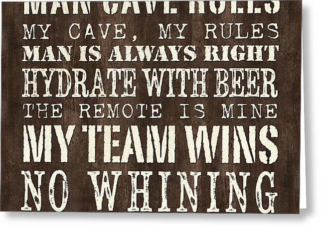 Team Paintings Greeting Cards - Man Cave Rules 1 Greeting Card by Debbie DeWitt