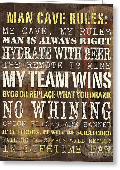 Beer Paintings Greeting Cards - Man Cave Rules 2 Greeting Card by Debbie DeWitt