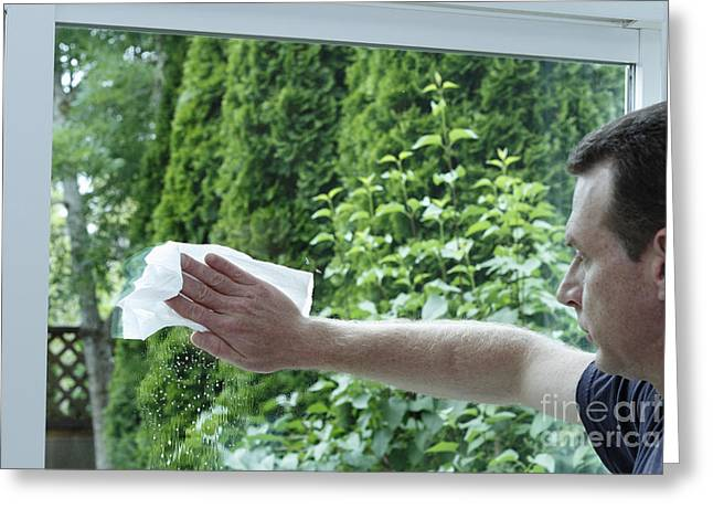 Sliding Glass Door Greeting Cards - Man Cleaning a Sliding Glass Door Greeting Card by Lee Serenethos