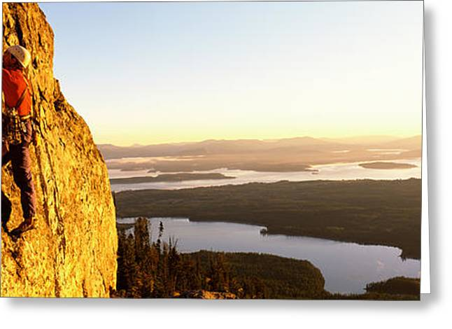 Endurance Greeting Cards - Man Climbing Up A Mountain, Rockchuck Greeting Card by Panoramic Images